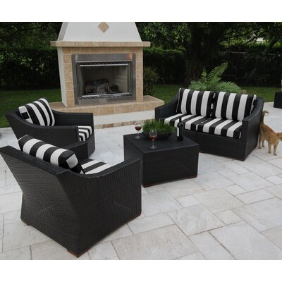 Marcelo 5 Piece Deep Seating Group with Cushions Fabric: Black and White - Cabana Classic
