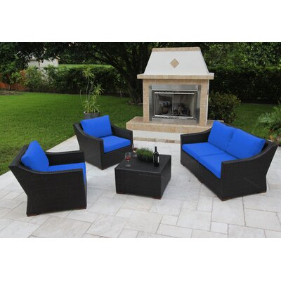 Marcelo 5 Piece Deep Seating Group with Cushions Fabric: Blue - Canvas True Blue
