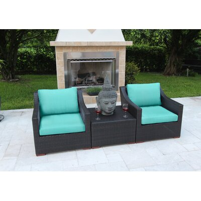 Marcelo 3 Piece Deep Seating Group with Cushions Fabric: Blue - Canvas Aruba