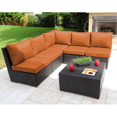 Scholtz 6 Piece Sectional Seating Group with Cushions Fabric: Orange - Canvas Tuscan