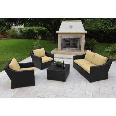 Marcelo 5 Piece Deep Seating Group with Cushions Fabric: Beige - Canvas Heather Beige