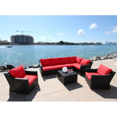 Marcelo 8 Piece Sectional Seating Group with Cushions Fabric: Red - Canvas Jockey Red