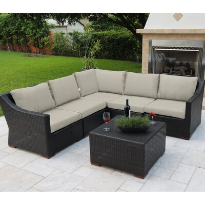 Marcelo 6 Piece Sectional Seating Group with Cushions Fabric: Gray - Spectrum Dove