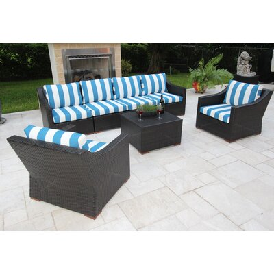 Marcelo 7 Piece Deep Seating Group with Cushions Fabric: Blue and White - Cabana Regatta