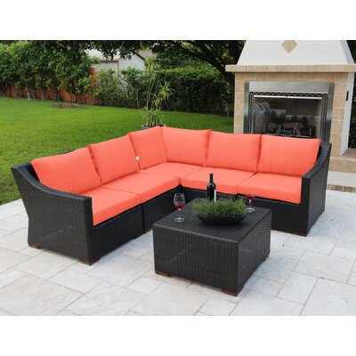 Marcelo 6 Piece Sectional Seating Group with Cushions Fabric: Orange - Canvas Tuscan