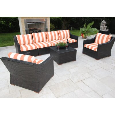 Marcelo 7 Piece Deep Seating Group with Cushions Fabric: Red and White - Cabana Flame