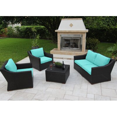 Marcelo 5 Piece Deep Seating Group with Cushions Fabric: Blue - Canvas Aruba