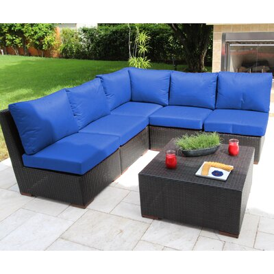 Scholtz 6 Piece Sectional Seating Group with Cushions Fabric: Blue - Canvas True Blue