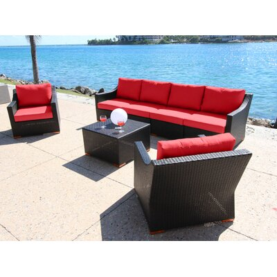 Marcelo 7 Piece Deep Seating Group with Cushions Fabric: Red - Canvas Jockey Red