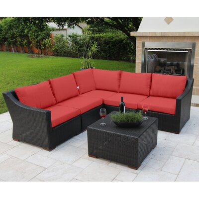 Marcelo 6 Piece Sectional Seating Group with Cushions Fabric: Red - Canvas Jockey Red