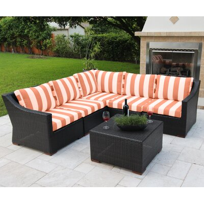 Marcelo 6 Piece Sectional Seating Group with Cushions Fabric: Red and White - Cabana Flame