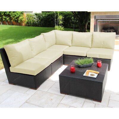Scholtz 6 Piece Sectional Seating Group with Cushions Fabric: White - Canvas Natural