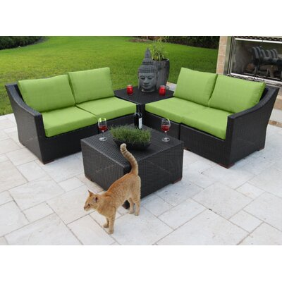 Marcelo 6 Piece Sectional Seating Group with Cushions Fabric: Green - Canvas Ginkgo