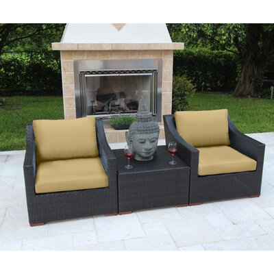 Marcelo 3 Piece Deep Seating Group with Cushions Fabric: Beige - Canvas Heather Beige
