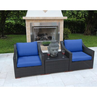 Marcelo 3 Piece Deep Seating Group with Cushions Fabric: Blue - Canvas True Blue