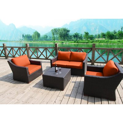 Marcelo 5 Piece Deep Seating Group with Cushions Fabric: Orange - Canvas Tuscan