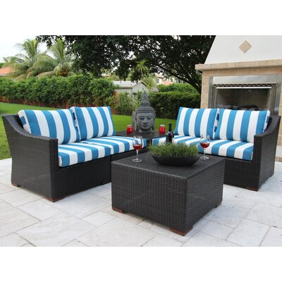 Marcelo 6 Piece Sectional Seating Group with Cushions Fabric: Blue and White - Cabana Regatta