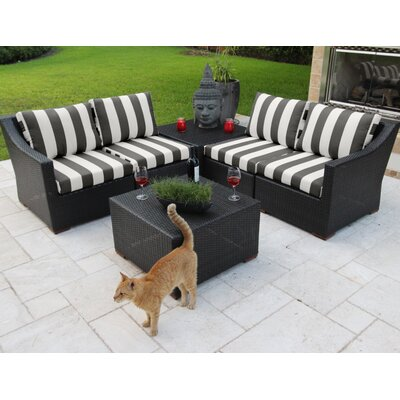 Marcelo 6 Piece Sectional Seating Group with Cushions Fabric: Black and White - Cabana Classic