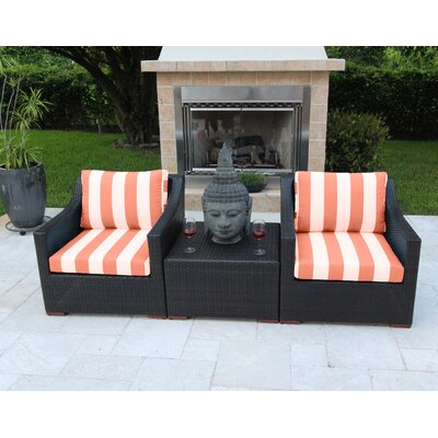 Marcelo 3 Piece Deep Seating Group with Cushions Fabric: Red and White - Cabana Flame