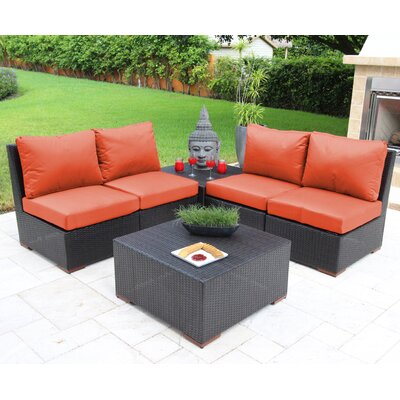 Scholtz 6 Piece Deep Seating Group with Cushions Fabric: Orange - Canvas Melon