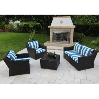 Marcelo 5 Piece Deep Seating Group with Cushions Fabric: Blue and White - Cabana Regatta