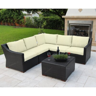 Marcelo 6 Piece Sectional Seating Group with Cushions Fabric: White - White - Canvas Natural
