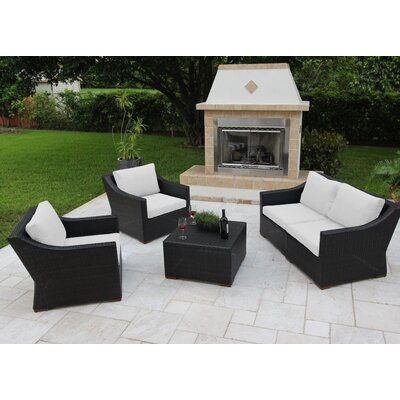 Marcelo 5 Piece Deep Seating Group with Cushions Fabric: White - White - Canvas Natural