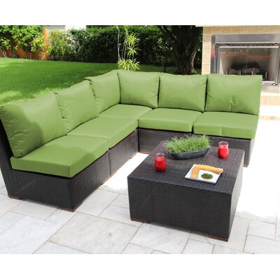 Scholtz 6 Piece Sectional Seating Group with Cushions Fabric: Green - Canvas Ginkgo