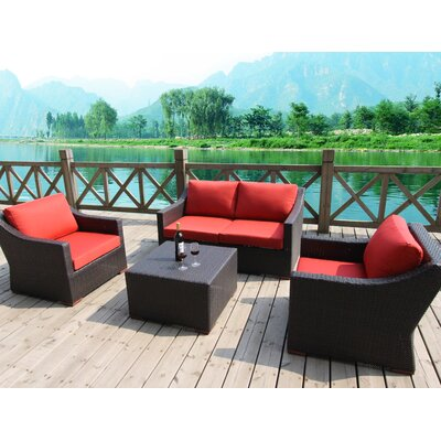 Marcelo 5 Piece Deep Seating Group with Cushions Fabric: Red - Canvas Jockey Red