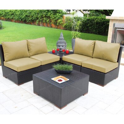 Scholtz 6 Piece Deep Seating Group with Cushions Fabric: Tan - Canvas Heather Beige