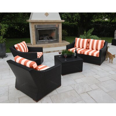 Marcelo 5 Piece Deep Seating Group with Cushions Fabric: Red and White - Cabana Flame
