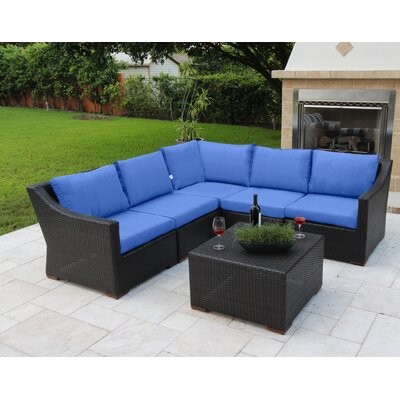 Marcelo 6 Piece Sectional Seating Group with Cushions Fabric: Blue - Canvas True Blue