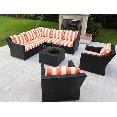 Marcelo 8 Piece Sectional Seating Group with Cushions Fabric: Red and White - Cabana Flame