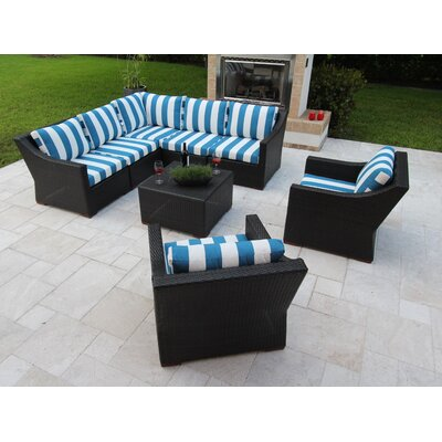 Marcelo 8 Piece Sectional Seating Group with Cushions Fabric: Blue and White - Cabana Regatta
