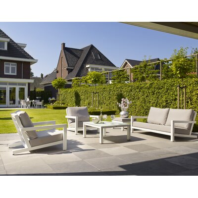 Block 4 Piece Deep Seating Group with Cushions Frame Finish: White