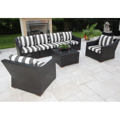 Marcelo 7 Piece Deep Seating Group with Cushions Fabric: Black and White - Cabana Classic