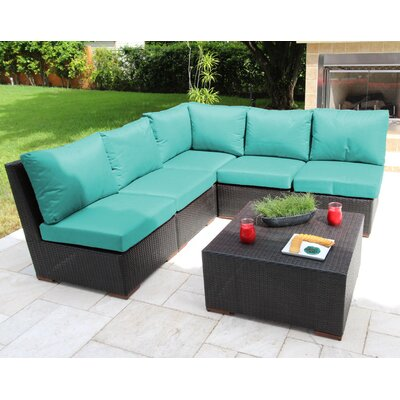 Scholtz 6 Piece Sectional Seating Group with Cushions Fabric: Blue - Canvas Aruba