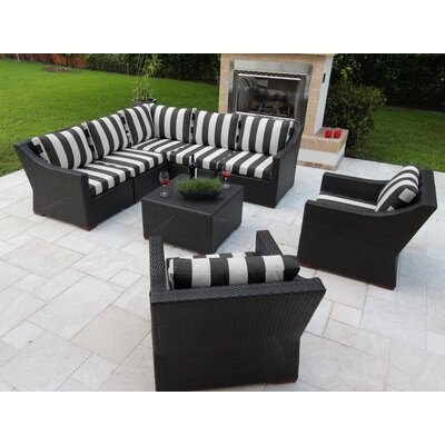 Marcelo 8 Piece Sectional Seating Group with Cushions Fabric: Black and White - Cabana Classic