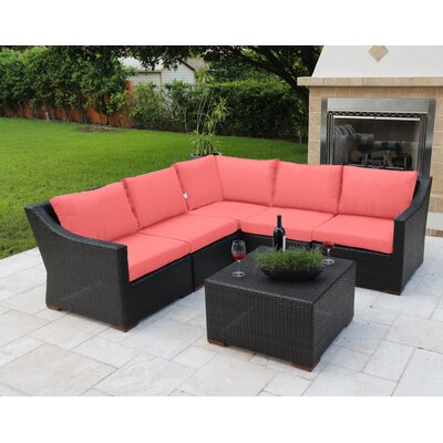 Marcelo 6 Piece Sectional Seating Group with Cushions Fabric: Orange - Canvas Melon