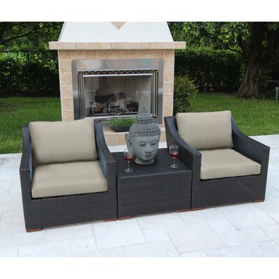 Marcelo 3 Piece Deep Seating Group with Cushions Fabric: Gray - Spectrum Dove