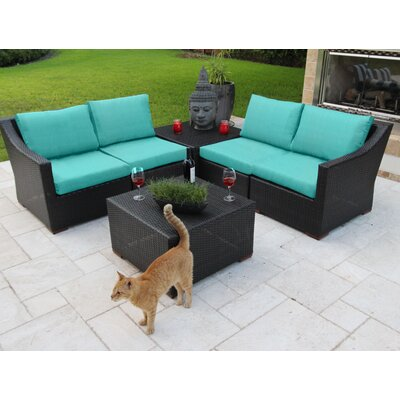 Marcelo 6 Piece Sectional Seating Group with Cushions Fabric: Blue - Blue - Canvas Aruba
