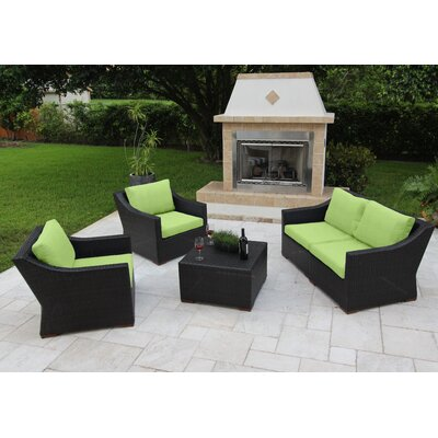 Marcelo 5 Piece Deep Seating Group with Cushions Fabric: Green - Canvas Ginkgo