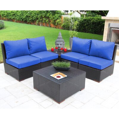 Scholtz 6 Piece Deep Seating Group with Cushions Fabric: Blue - Canvas True Blue