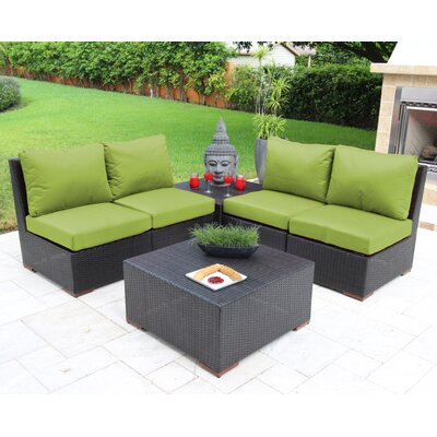 Scholtz 6 Piece Deep Seating Group with Cushions Fabric: Green - Canvas Ginkgo