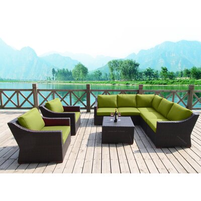 Marcelo 8 Piece Sectional Seating Group with Cushions Fabric: Green - Canvas Ginkgo