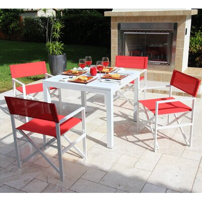 Oxford 5 Piece Dining Set Fabric: Red - Rouge