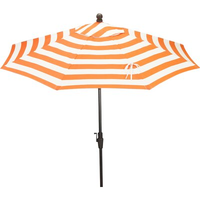 9 Resort Market Umbrella Fabric: Orange / White