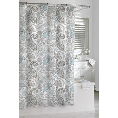 Cotton Paisley Shower Curtain Color: Blue/Gray