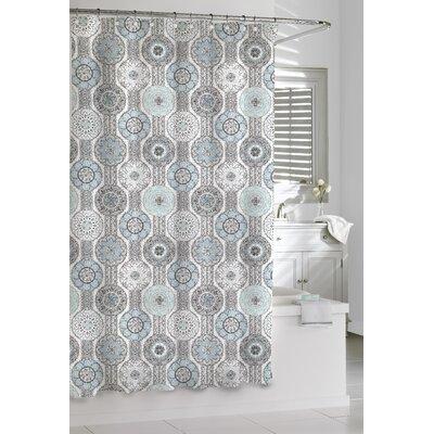 Cotton Urban Tiles Shower Curtain Color: Blue/Gray