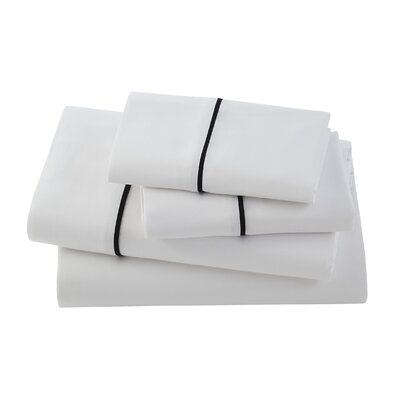 Verona Bedding 300 Thread Count Cotton Sheet Set Size: King, Color: White/Black